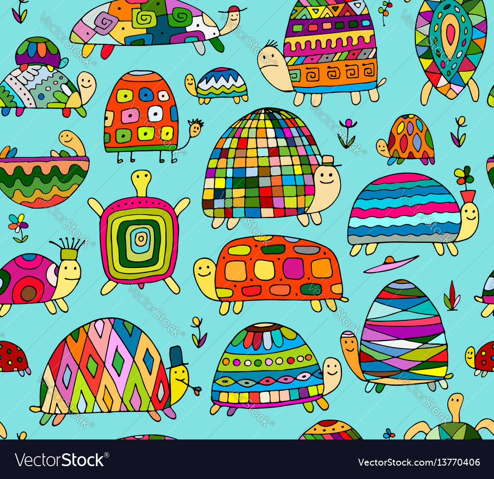 Funny turtles collection seamless pattern for