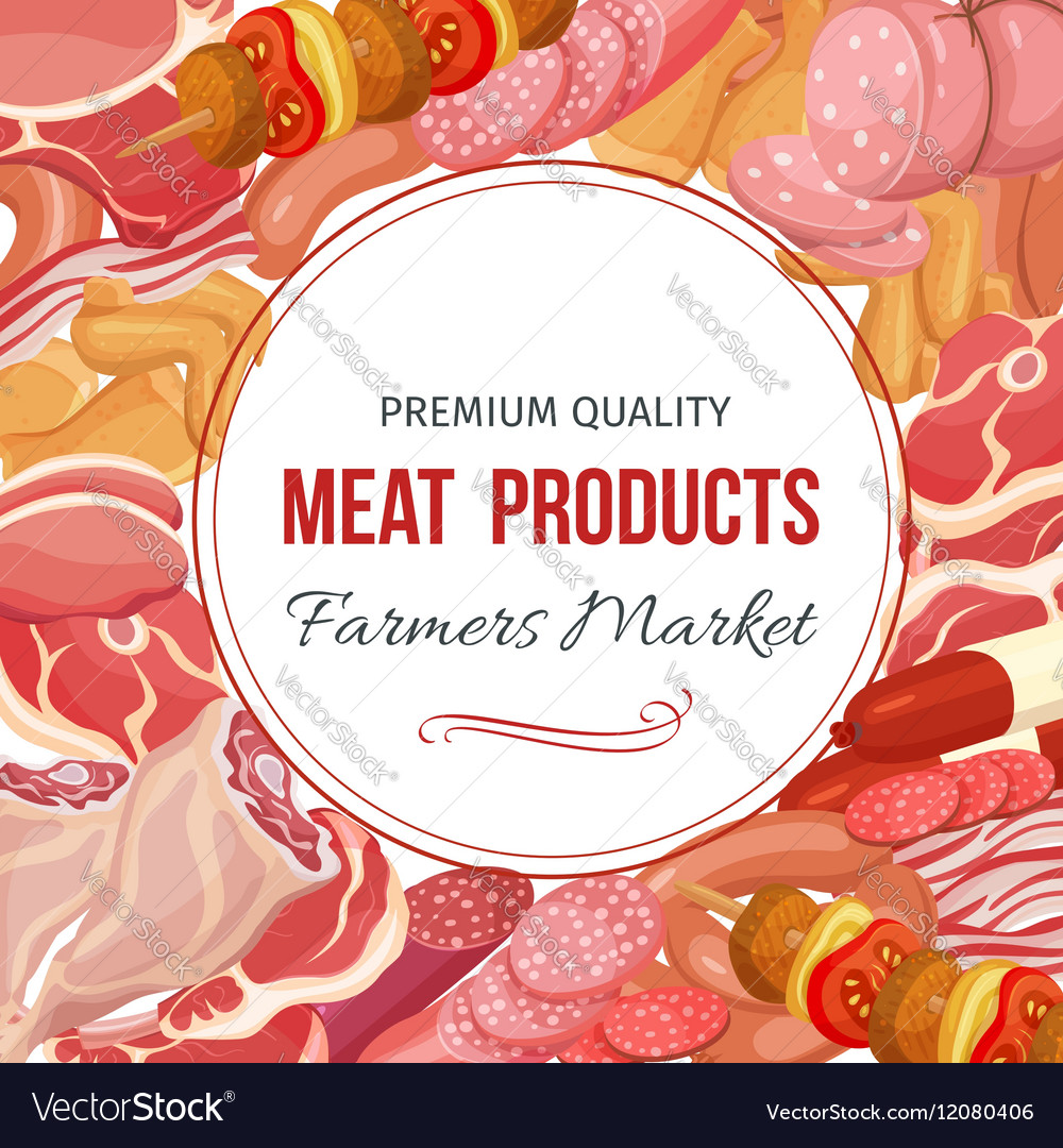 Gastronomic meat products menu design vector image