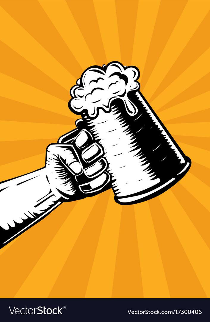 Hand with beer mug vintage poster for pub