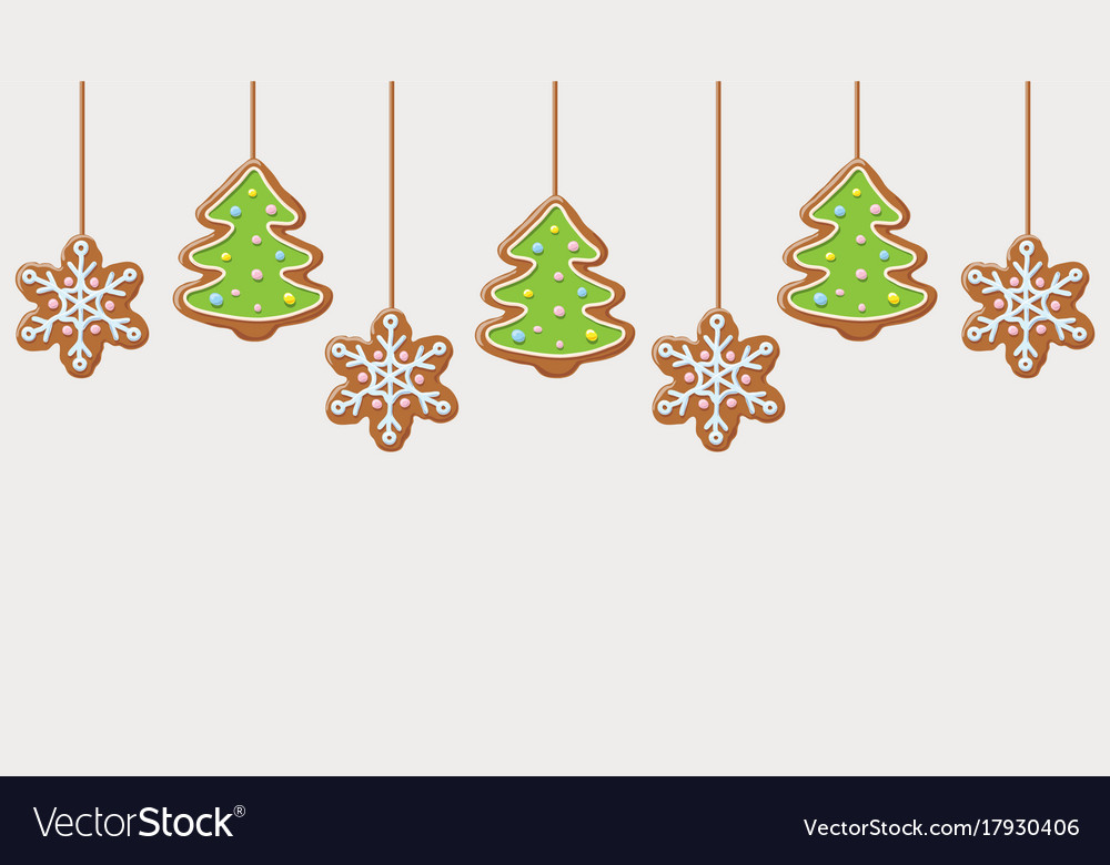 Hanging gingerbread snowflakes and christmas trees
