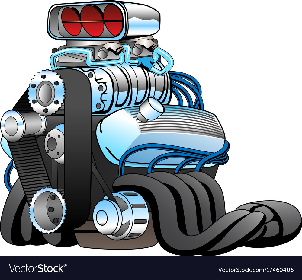 Hot rod race car engine cartoon Royalty Free Vector Image
