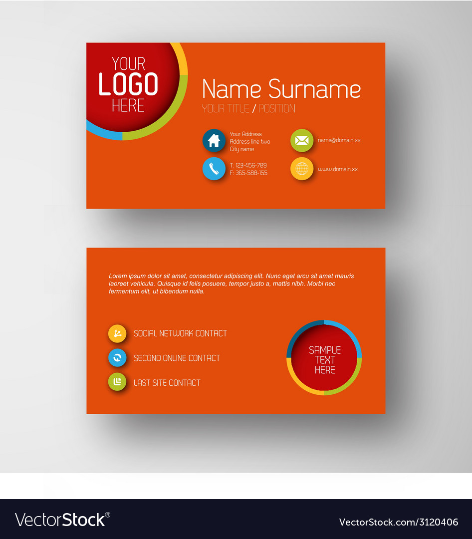 Modern red business card template with flat user vector image fbccfo Choice Image