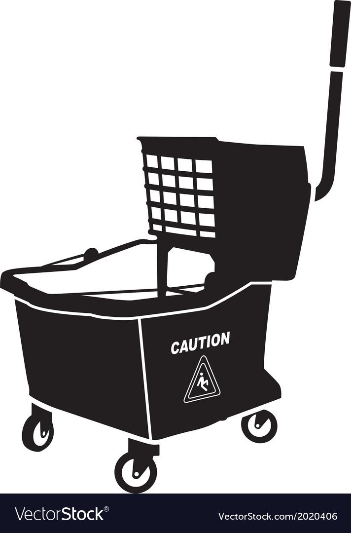 Mop bucket vector image