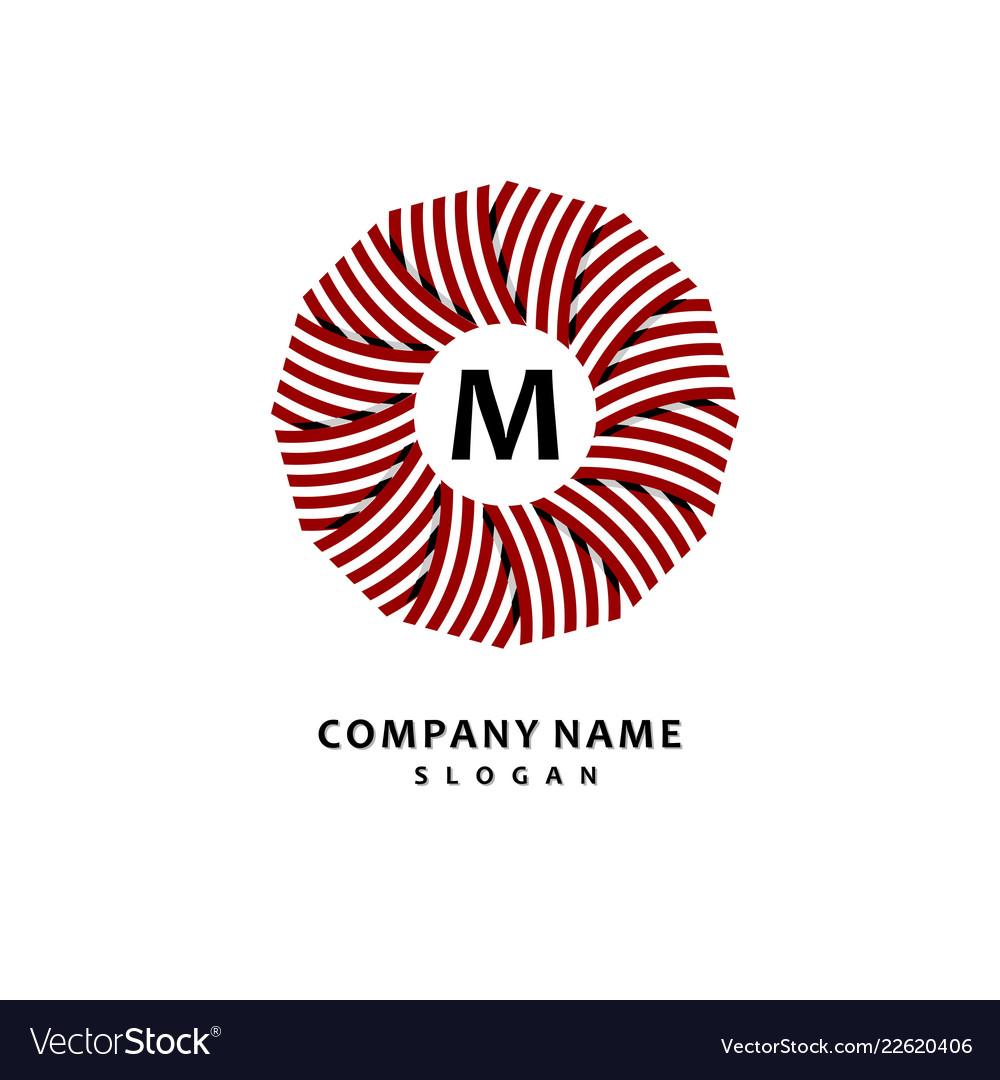 Round stripe wreath stylish and graceful monogram