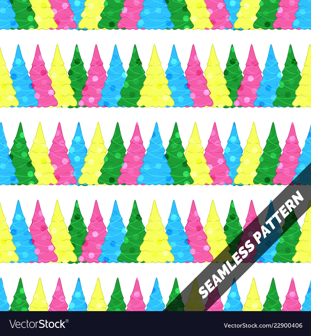 Seamless pattern with christmas trees of different