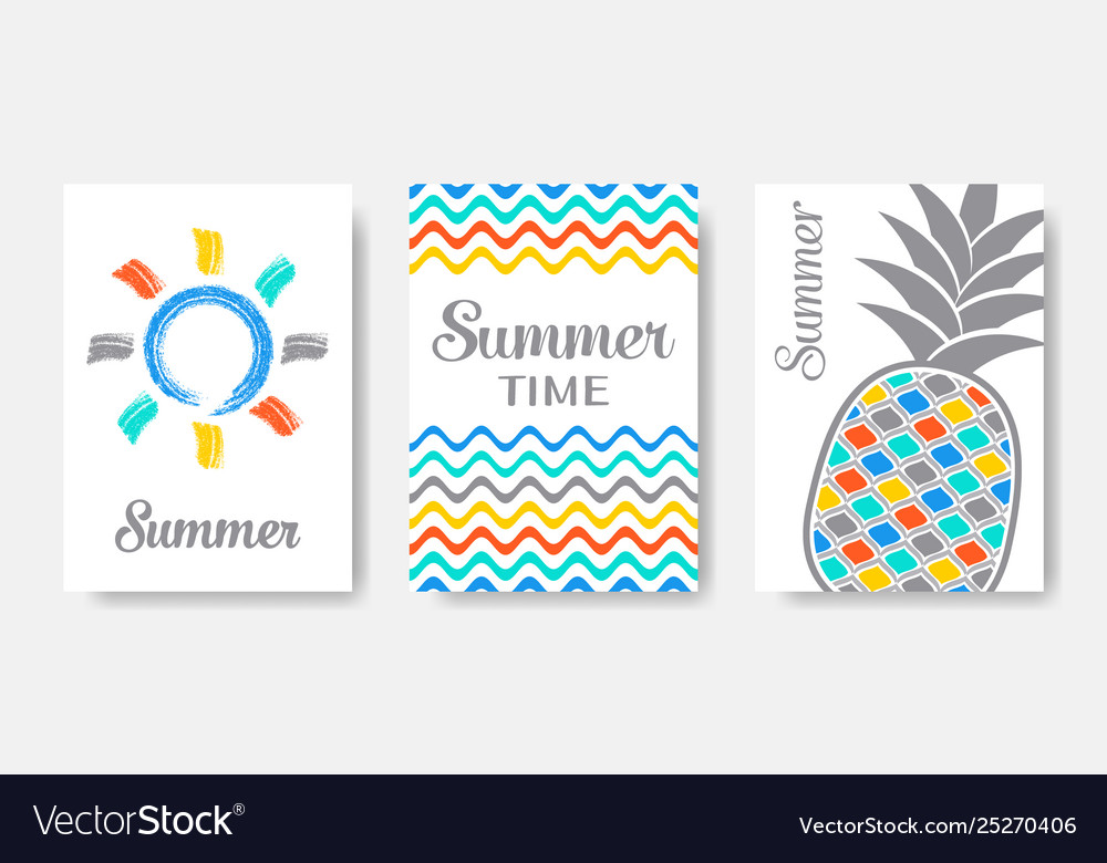 Simple colourful summer cards set isolated