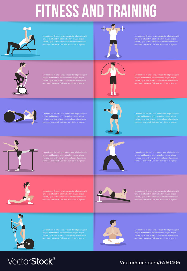 Training people icons set for sport fitness vector image