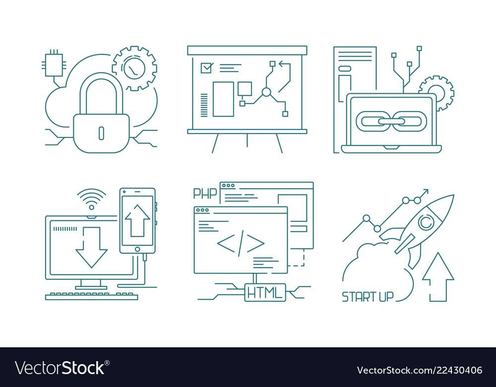 Web development icon design and code developers