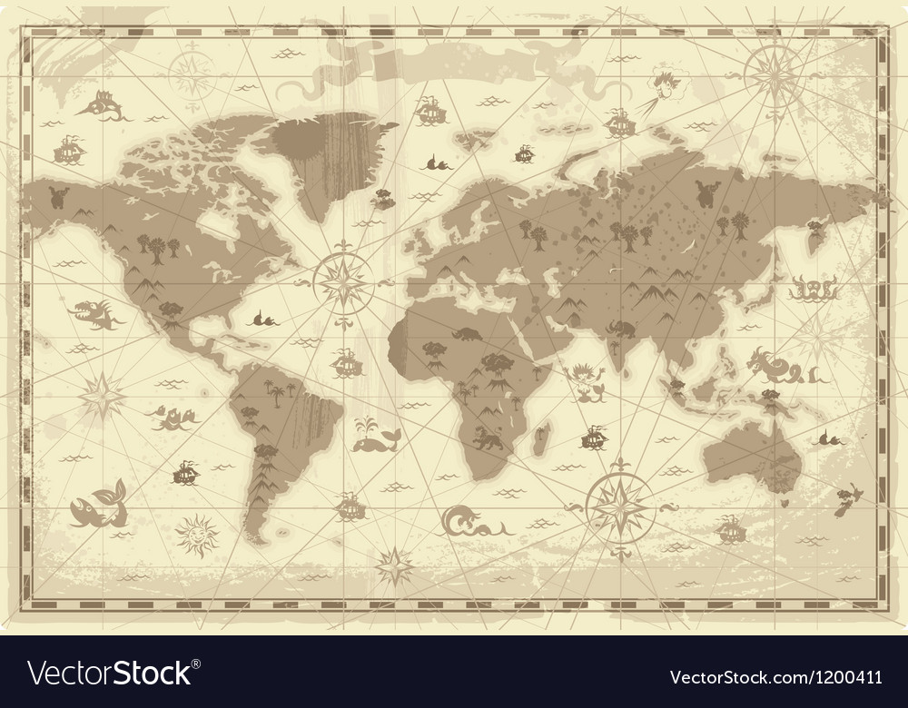 Ancient World map Royalty Free Vector Image - VectorStock