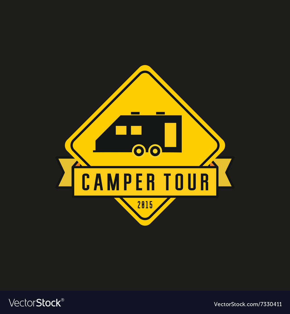 Camper yellow road sign machine