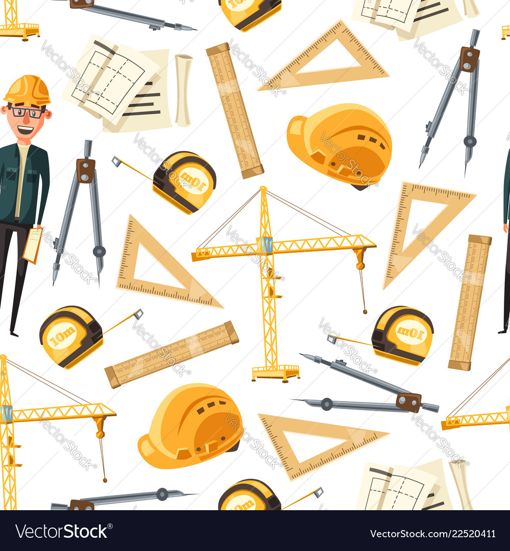 Engineer and architect tools seamless pattern
