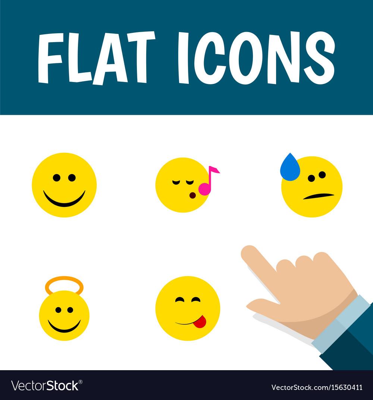 Flat icon emoji set of delicious food descant