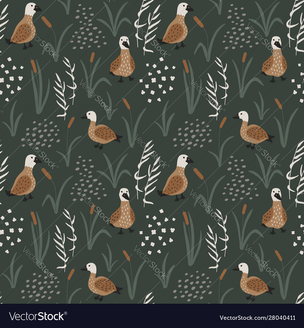 Hand drawn seamless pattern with cute ducks in a