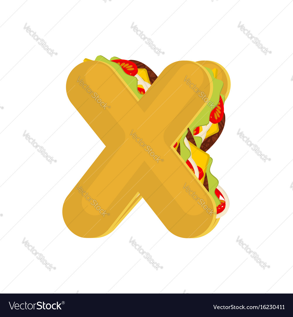 Letter x tacos mexican fast food font taco