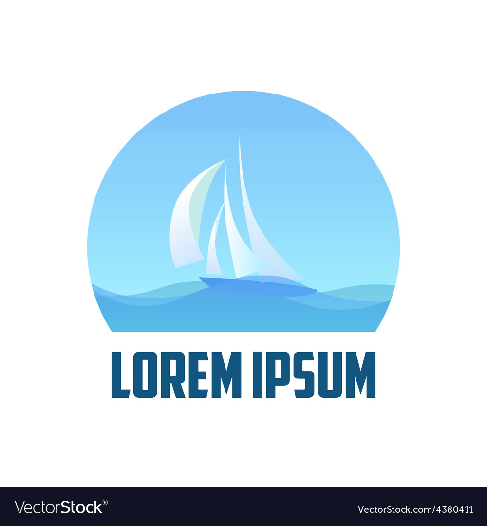 Logo with Yacht in Sea vector image