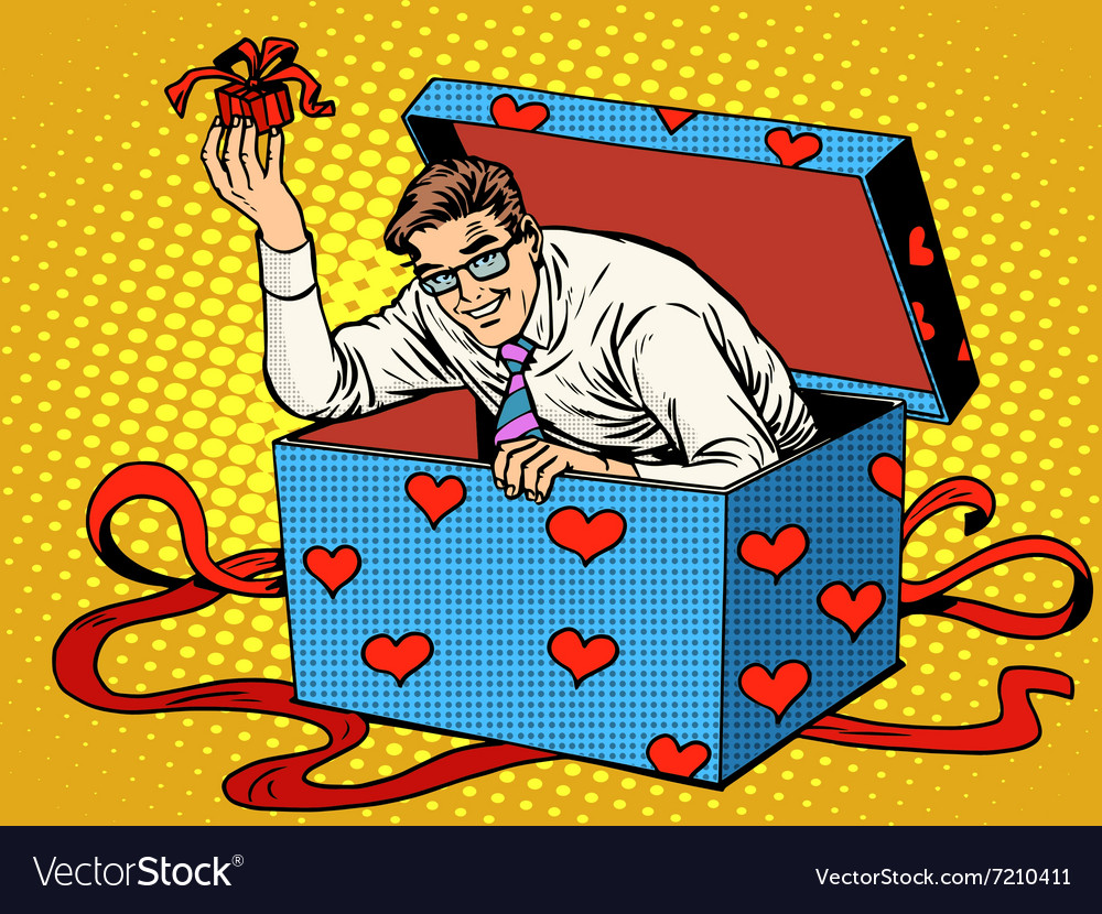 Man Valentine day surprise box love gift vector image
