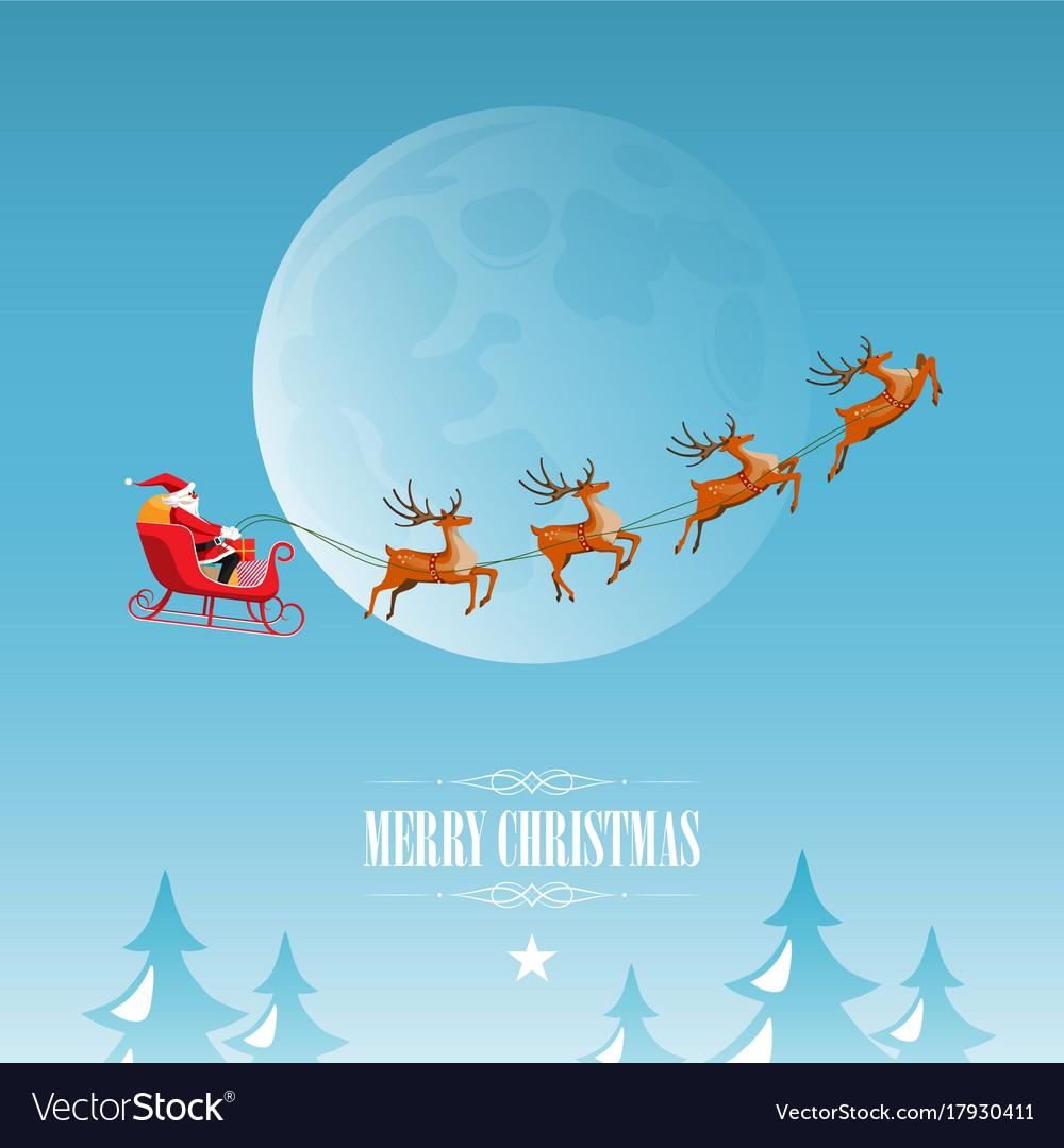 Merry christmas santa claus drives sleigh on sky
