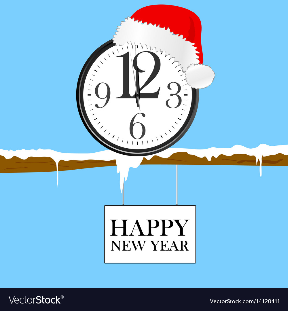 New year clock with red christmas hat