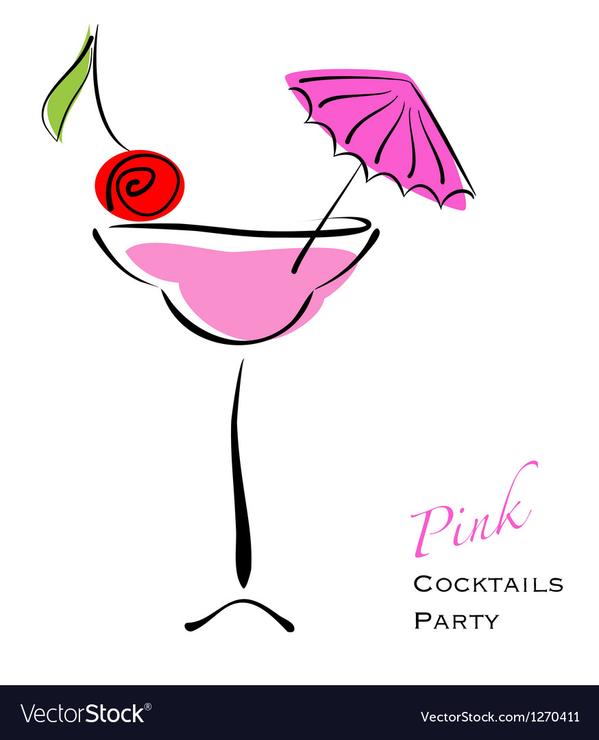 Pink cocktail party vector image
