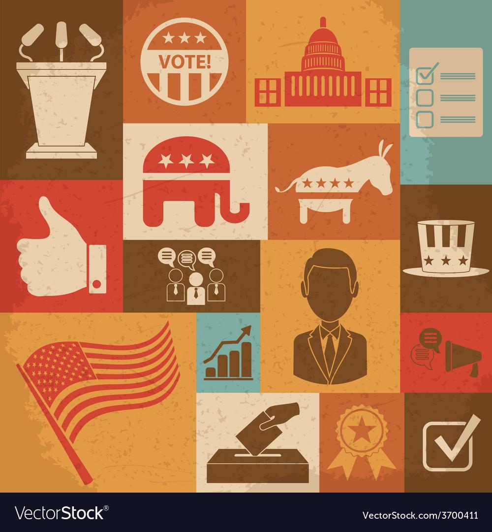 Retro political election campaign icons set