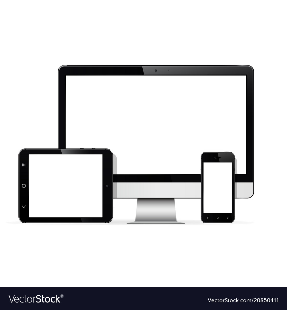 Set of modern digital devices computer monitor vector image