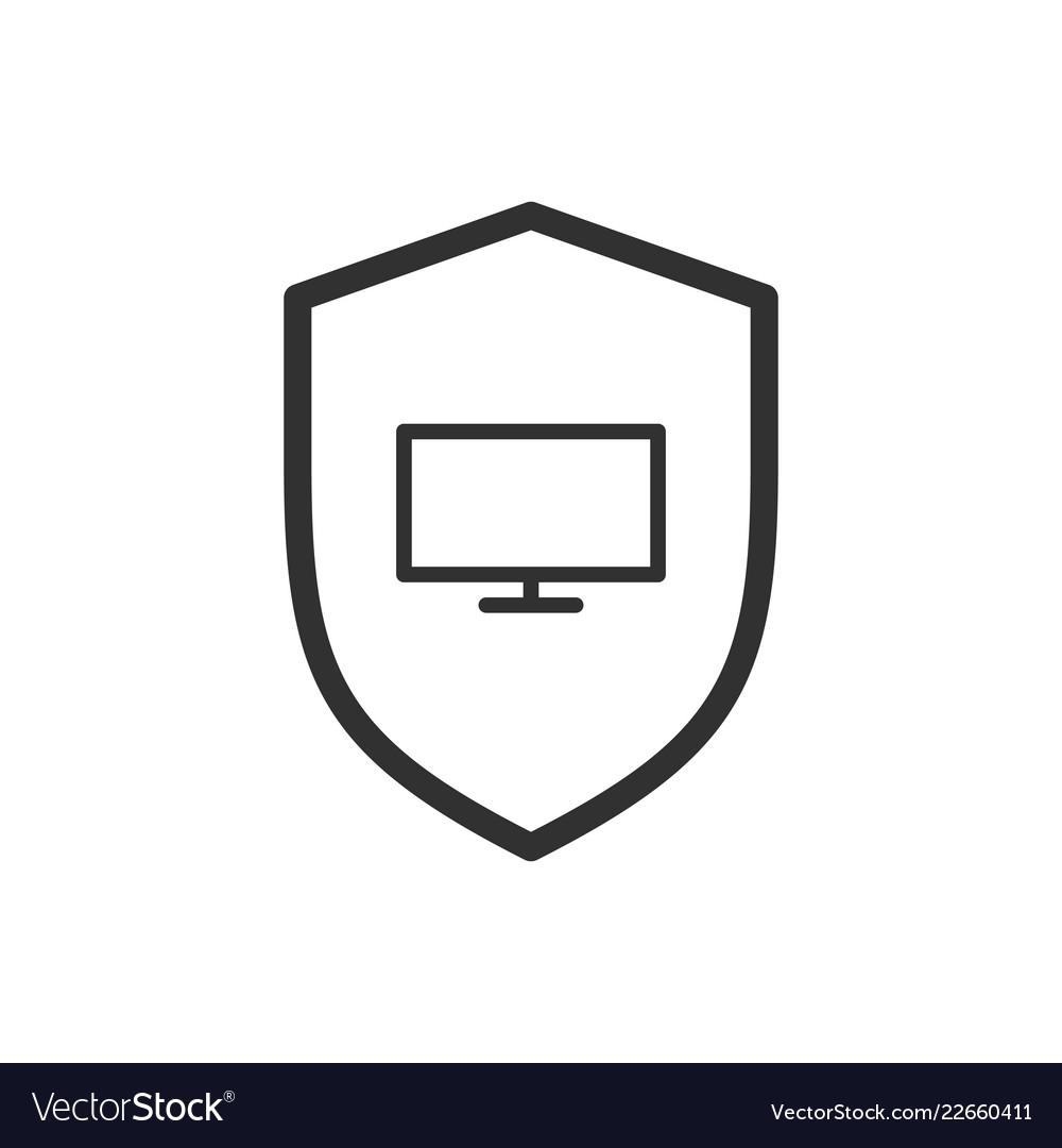 Shield line icon web security symbol computer