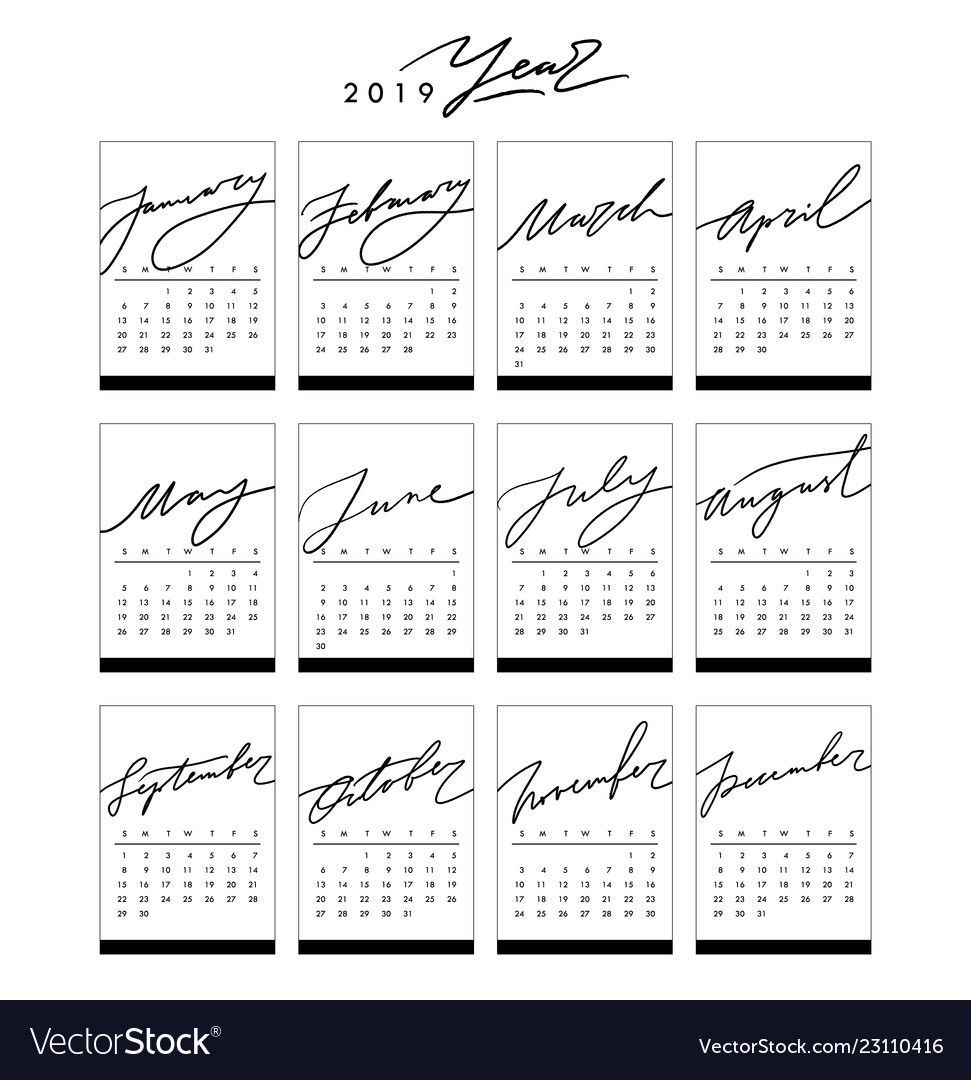 Calendar 2019 in black and white colors in