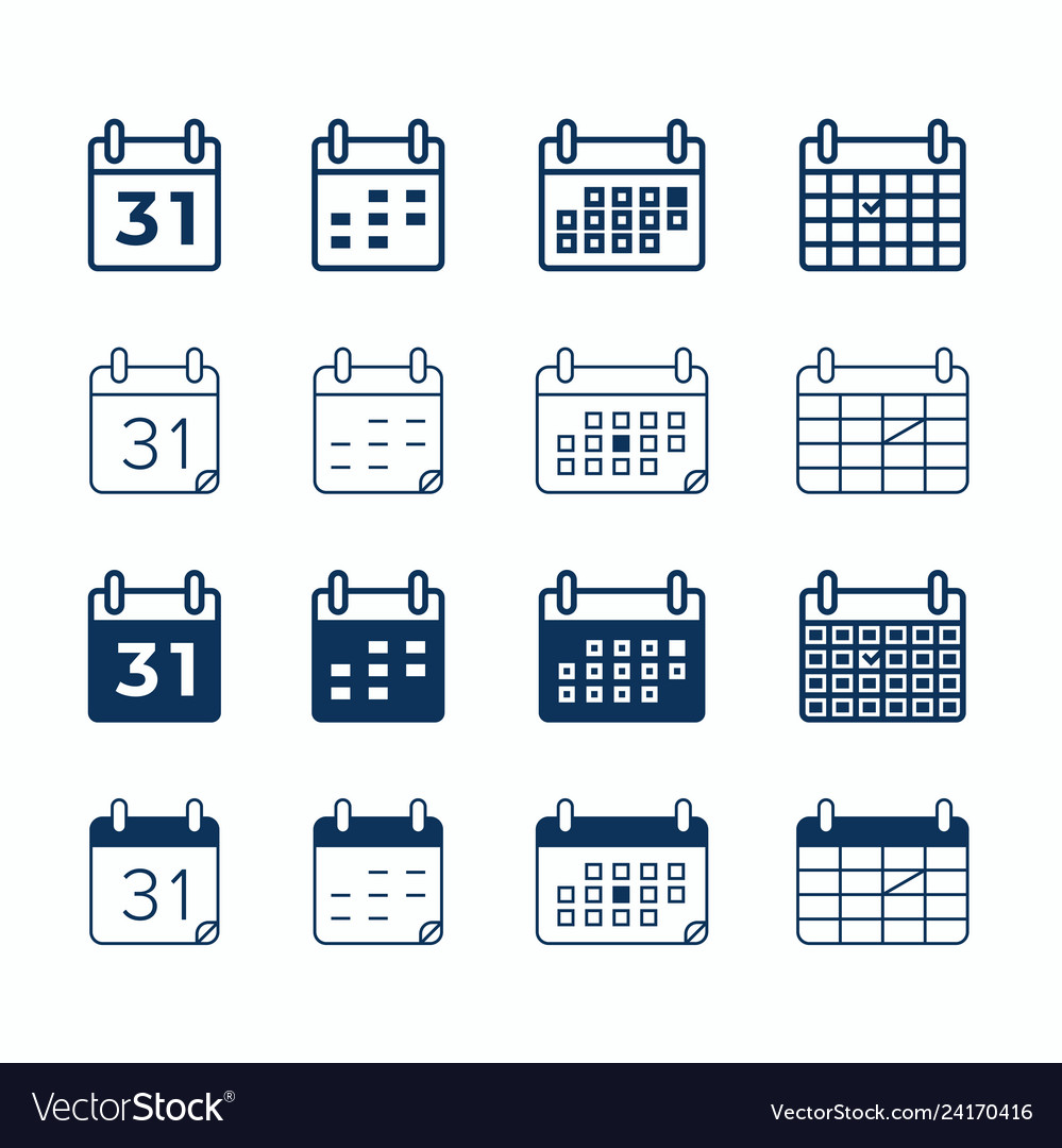 Calendar web icons day date and month agenda