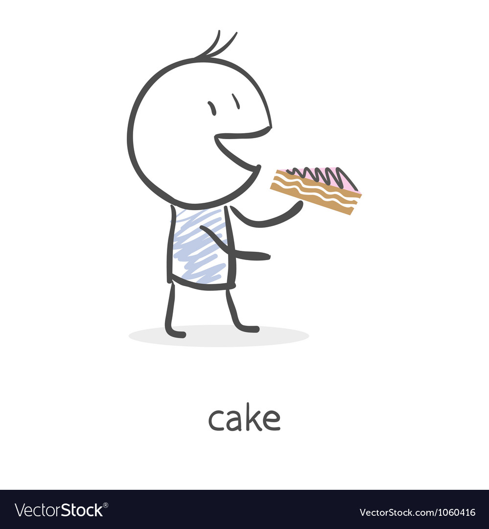 Cartoon boy eating cake
