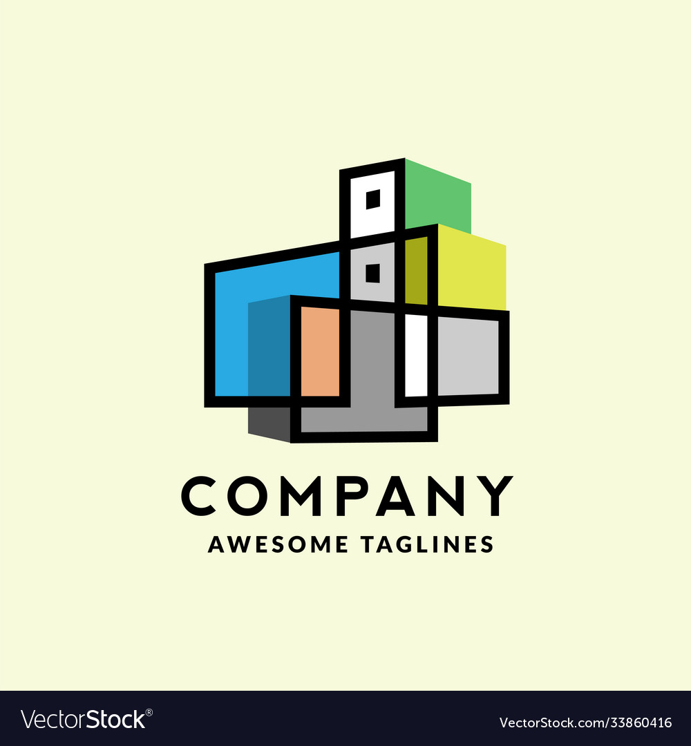Colorful linear building real estate logo
