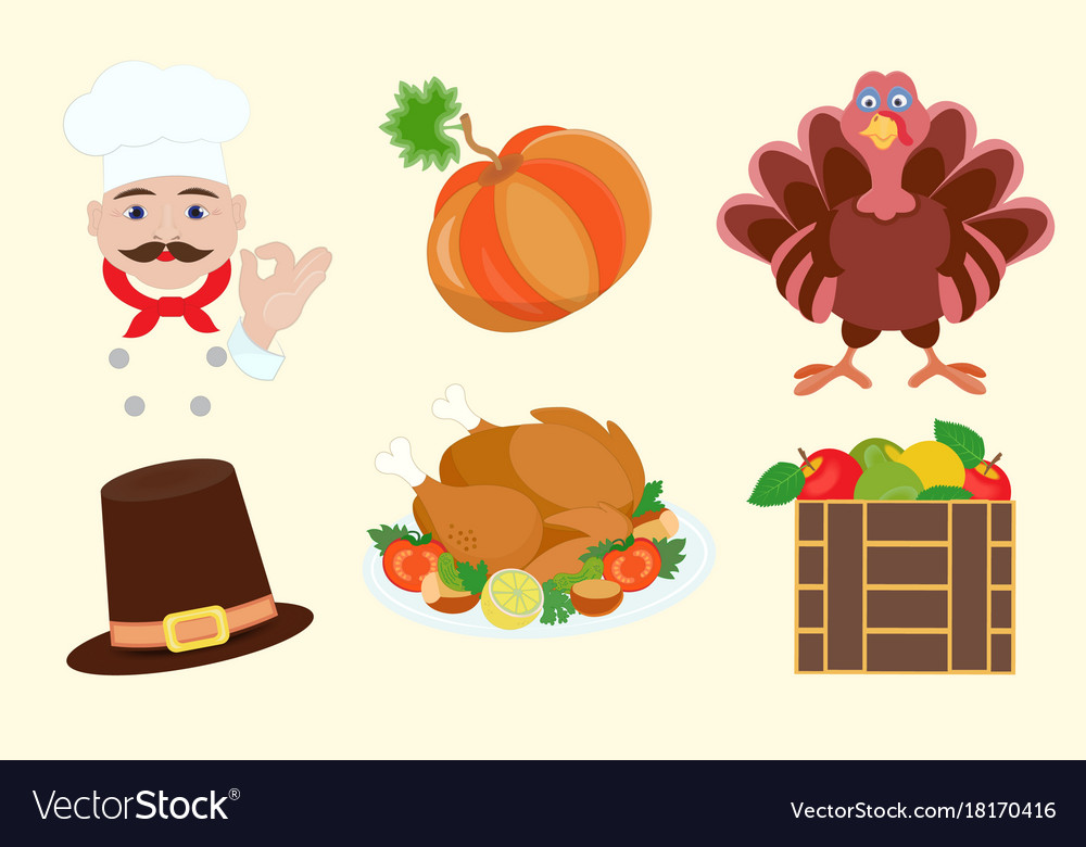 Elements for graphic design for thanksgiving