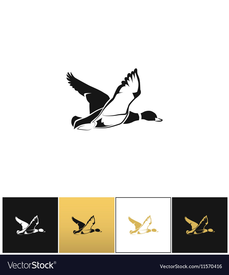 Flying duck silhouette or hunting target