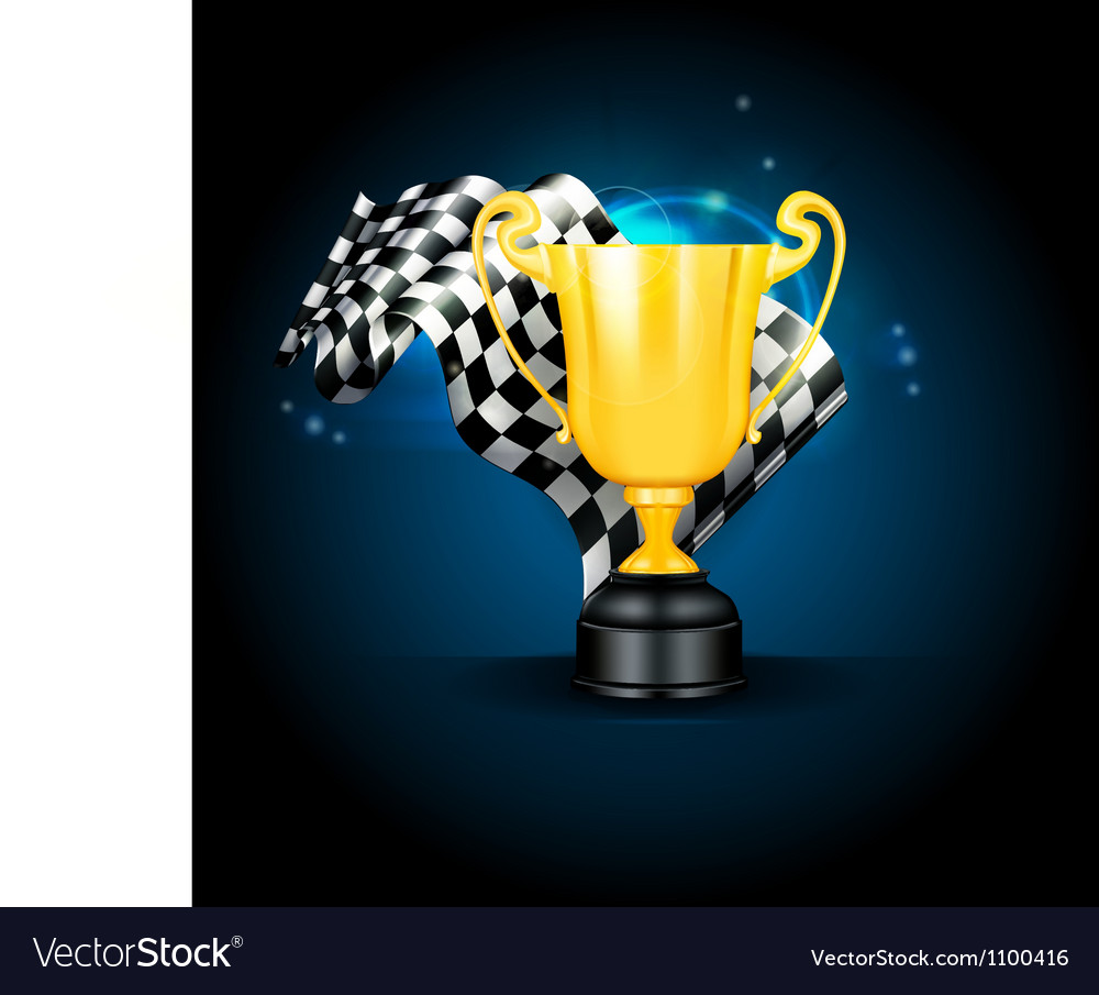 Golden Trophy and Flag vector image