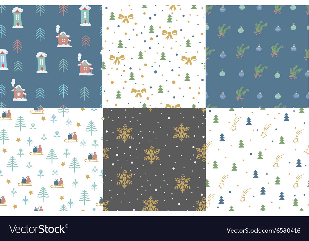 Hand drawn winter holidays seamless patterns
