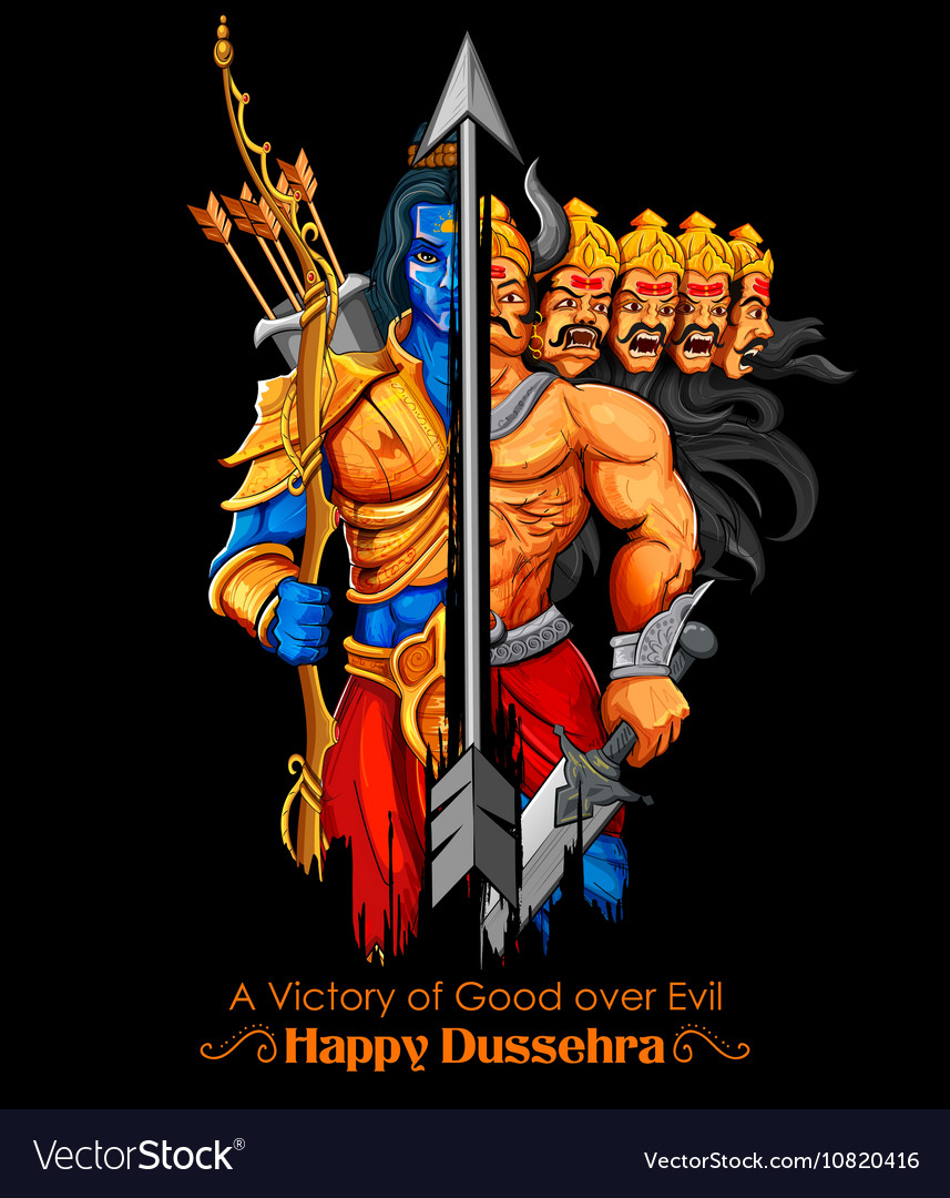Lord Rama and Ravana in Dussehra Navratri festival vector image