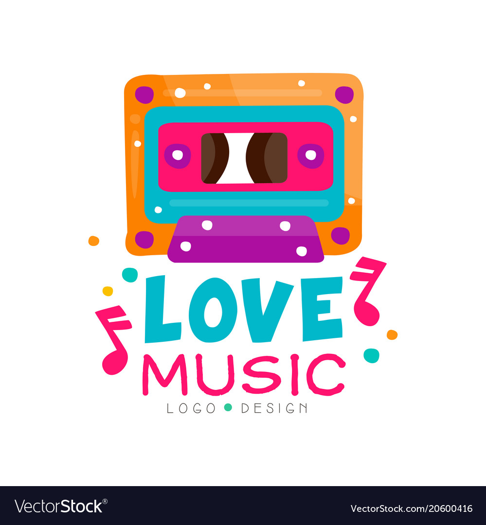 Original logo with bright-colored cassette and
