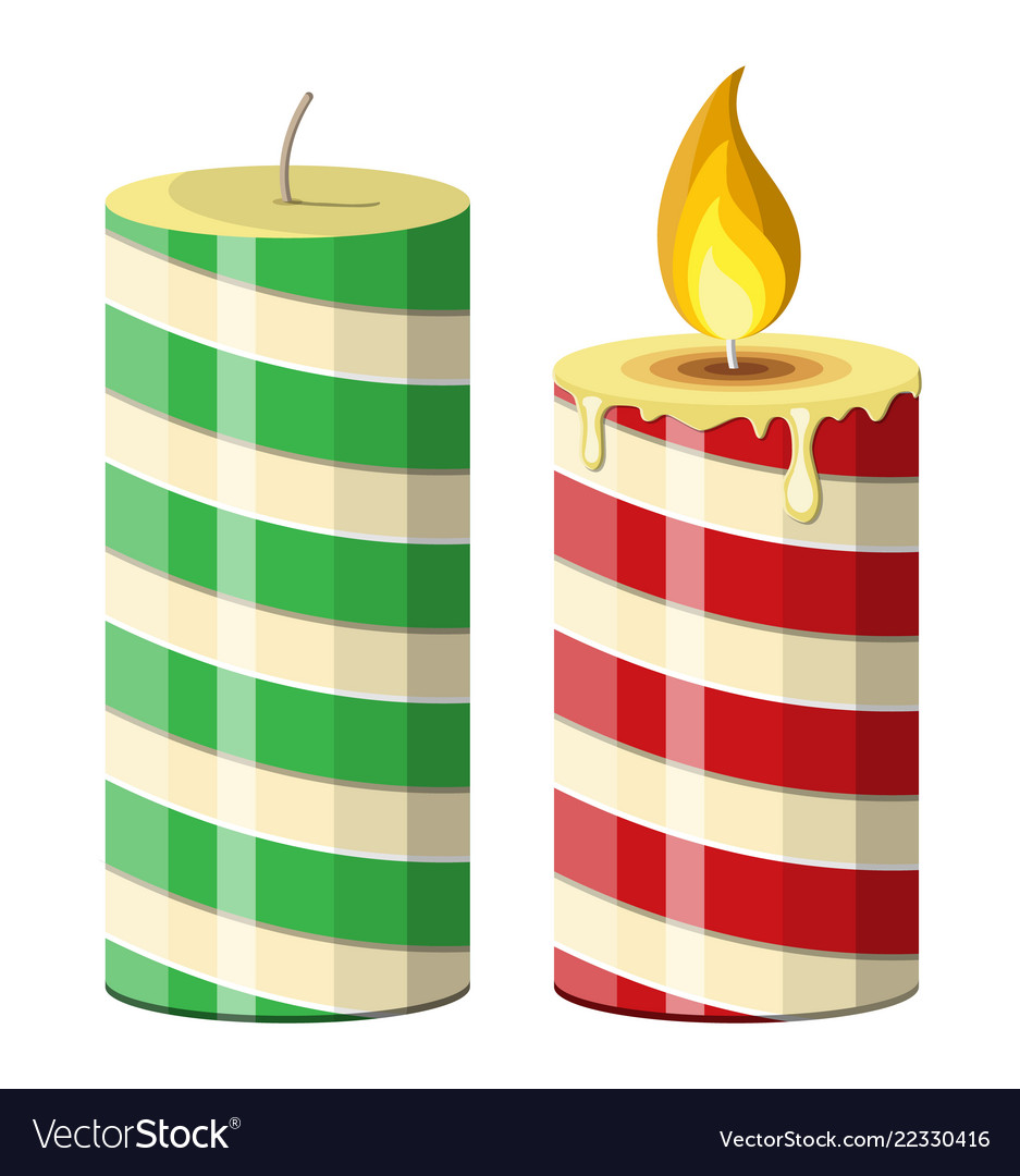 Striped christmas candle