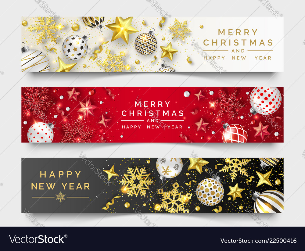 Three christmas horizontal banners with shining