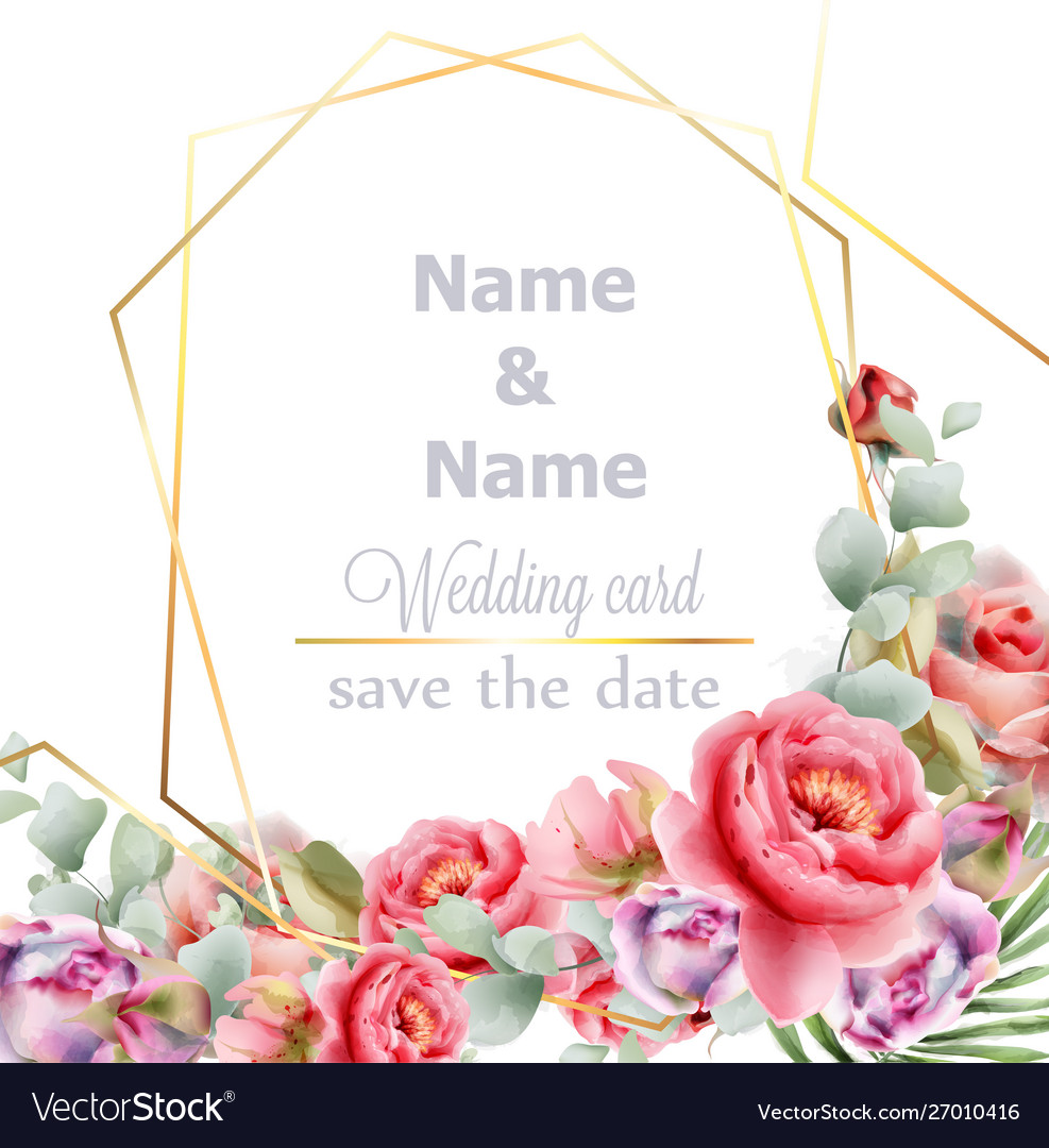 Wedding frame peony watercolor golden abstract