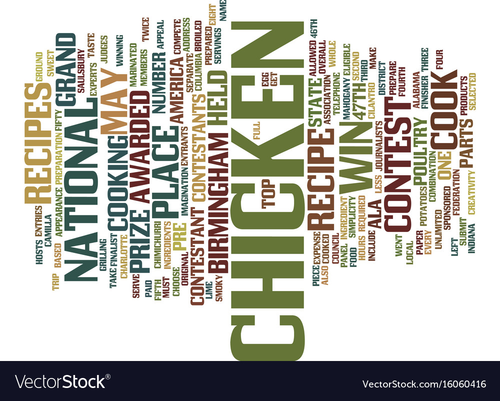 Your chicken recipe could win text background vector image