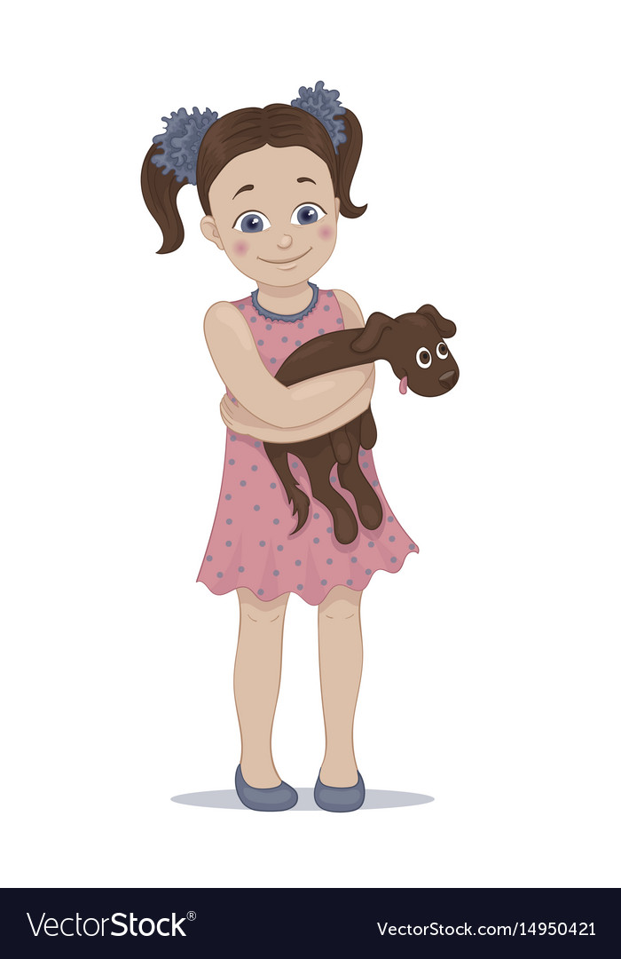 A cute girl embracing her pet