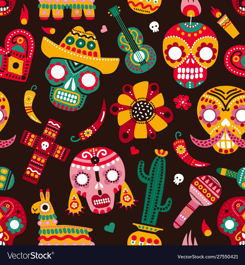 Day dead seamless pattern skulls guitar and