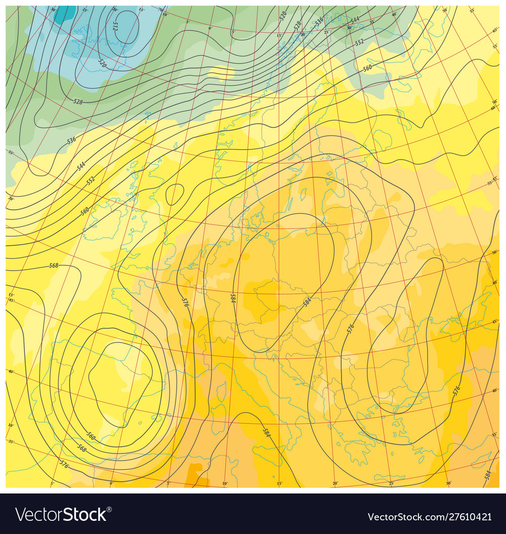 Fictional weather and temperature map europe