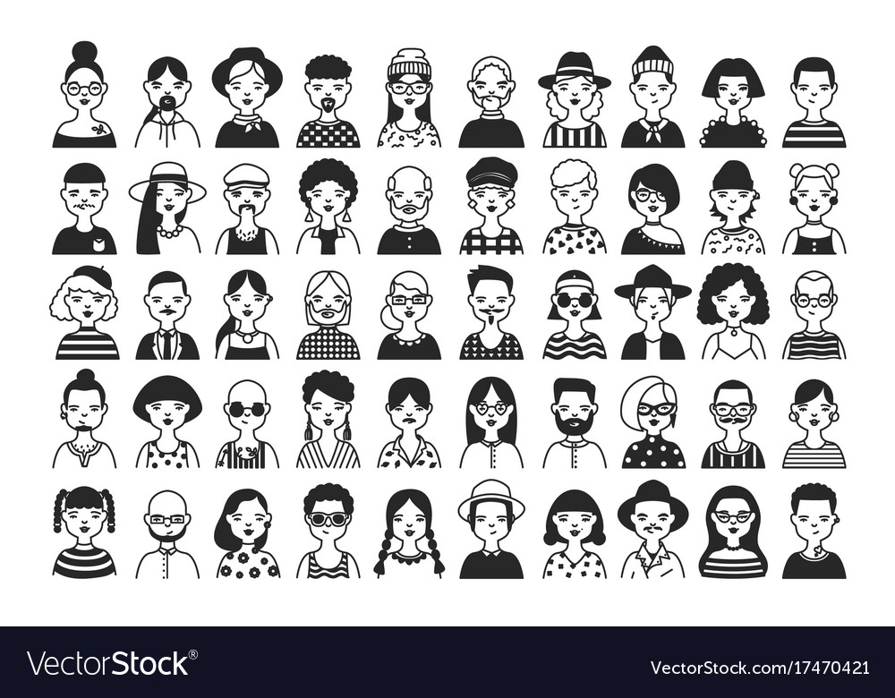 Large collection of male and female cartoon