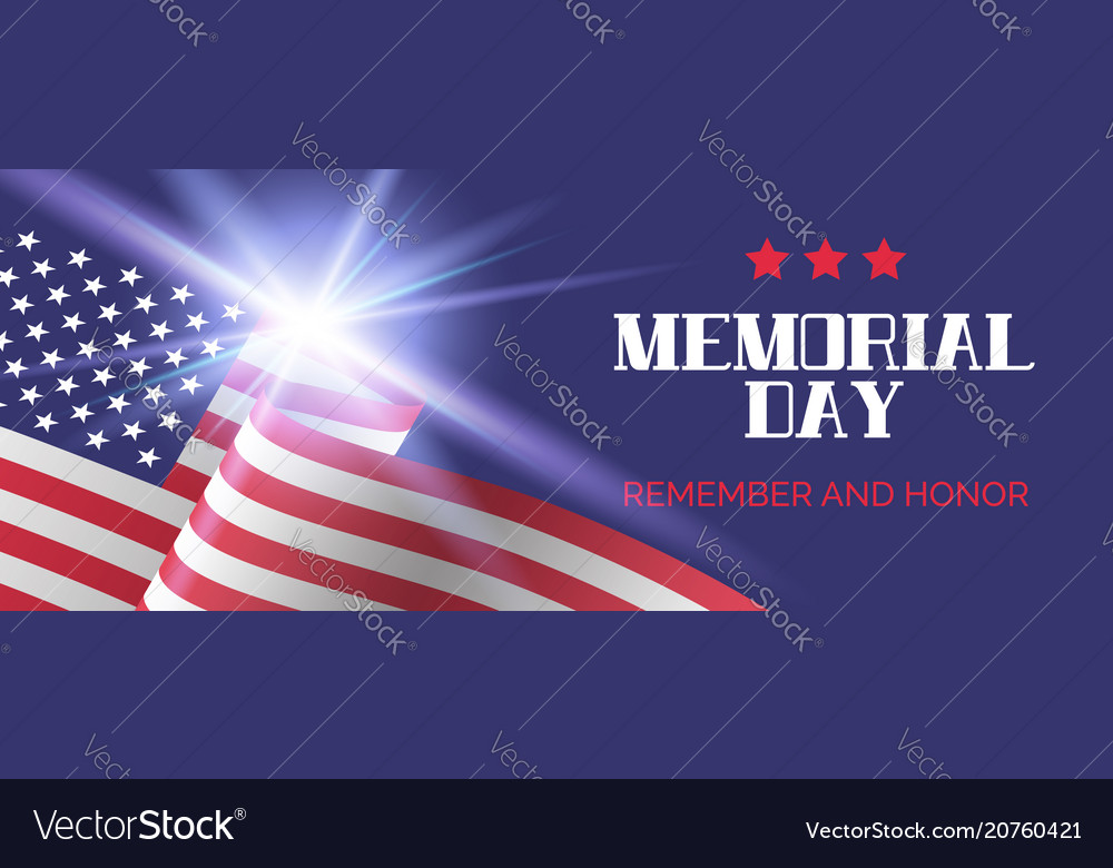 Memorial day remember and honor banner template