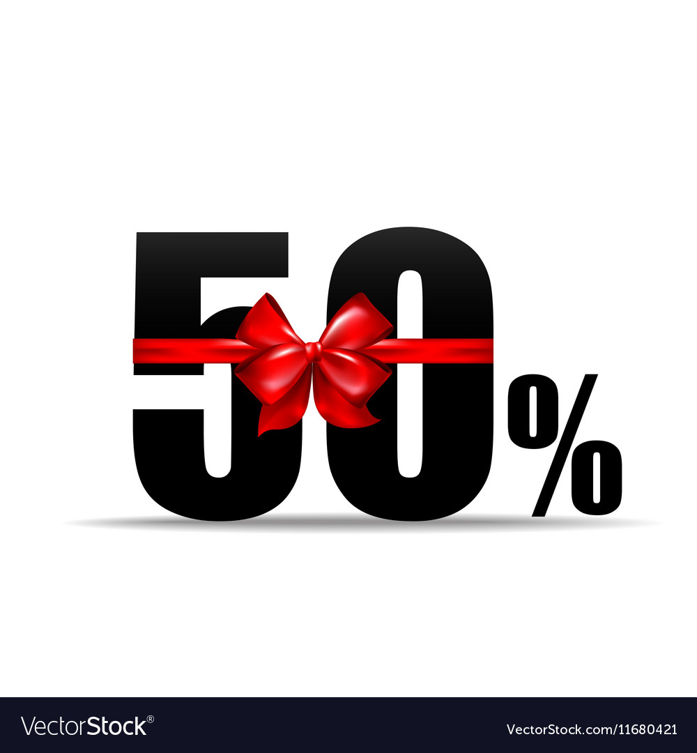 Number 50 percent for discount and sale with red