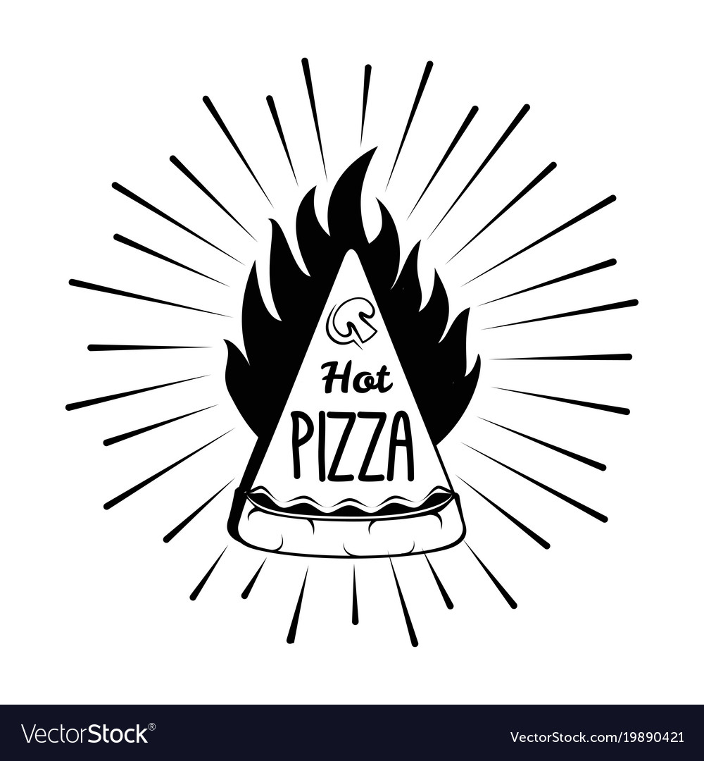 Pizza in fire with beams logo icon