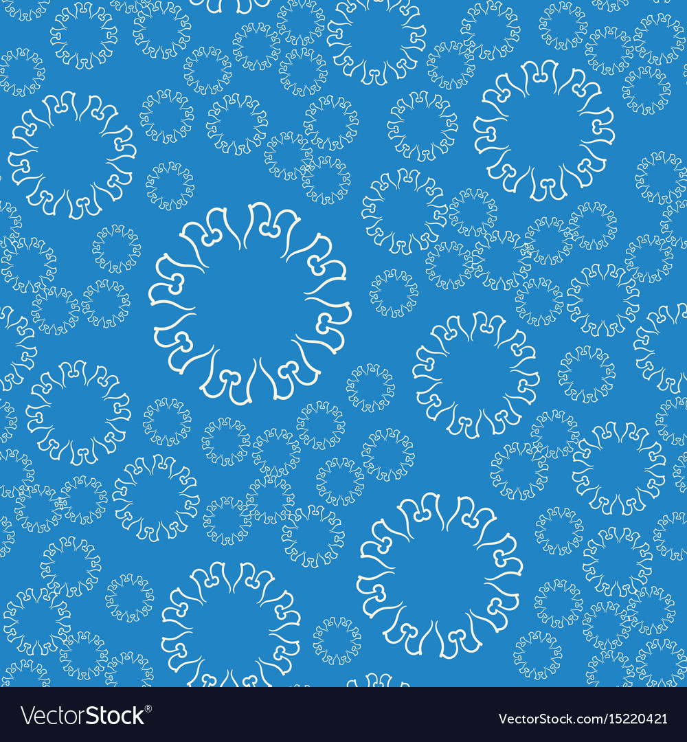 Seamless blue flower mandala for print on textile vector image