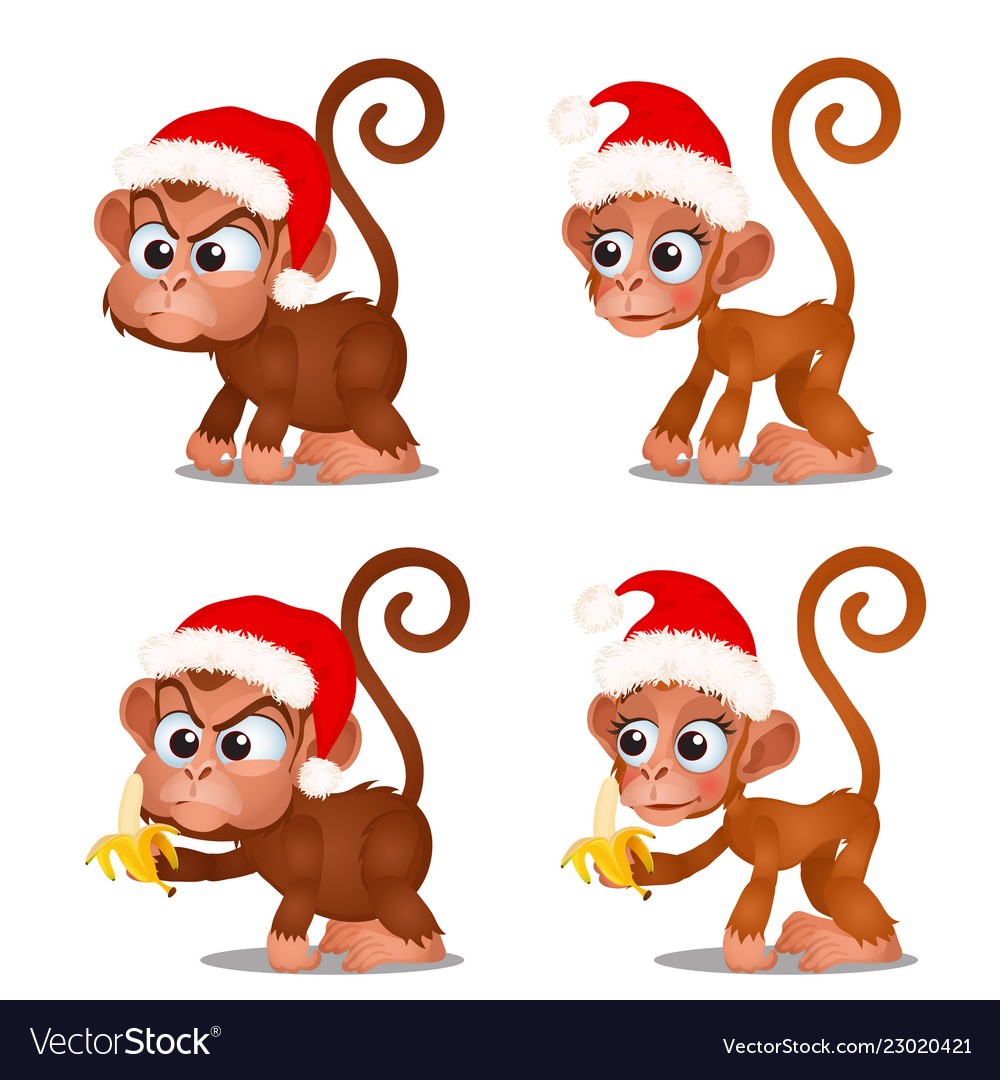Set of cute monkey with red cap of santa claus and