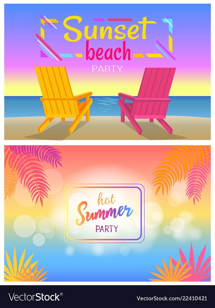 Sunset beach party hot summer days poster sunbeds